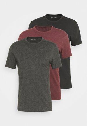 3 PACK - T-paita - black/mottled dark grey/bordeaux