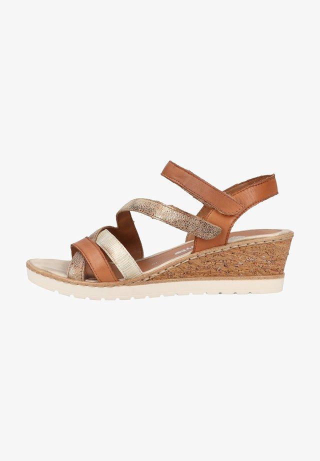 Sandalen met sleehak - antique/noccia/lightgold