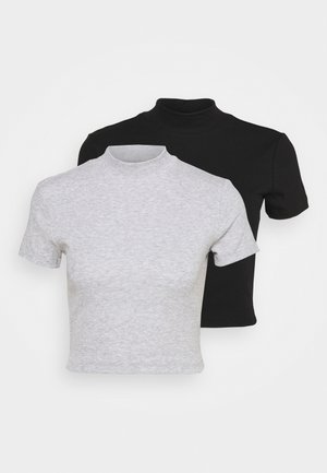 2 PACK - Print T-shirt - black/grey