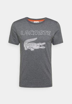 LOGO SLOGAN - T-shirt imprimé - gris chine/blanc