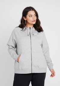 Nike Sportswear - HOODY PLUS - Mikina na zip - grey heather/white - 0