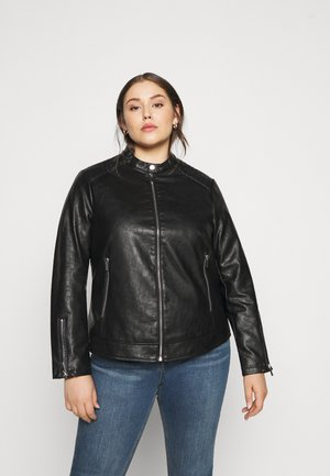 COLLARLESS JACKET - Imitert skinnjakke - black