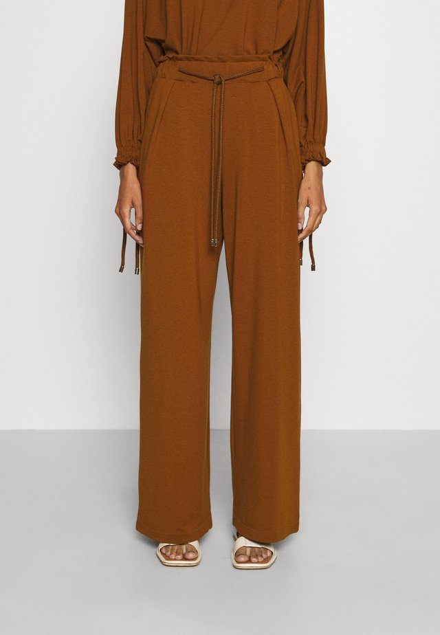 WIDE LEG JOGGER WITH ROPE TIE - Tracksuit bottoms - brown