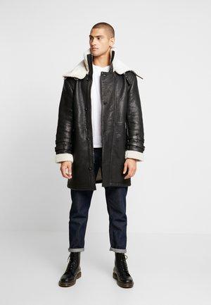 BEBARRY - Leather jacket - black offwhite