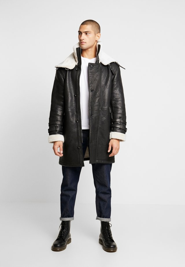 BEBARRY - Leather jacket - black offwhite