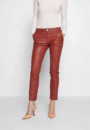 LEYA - Kožené kalhoty - bruschetta