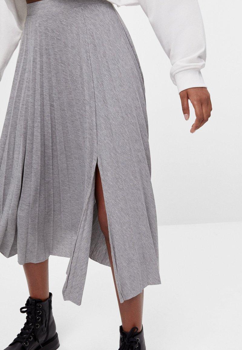 Bershka - A-line skirt - light grey