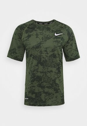 SLIM  - Camiseta estampada - medium olive/white