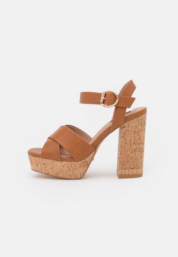 ONLATUMN - Platform sandals - cognac