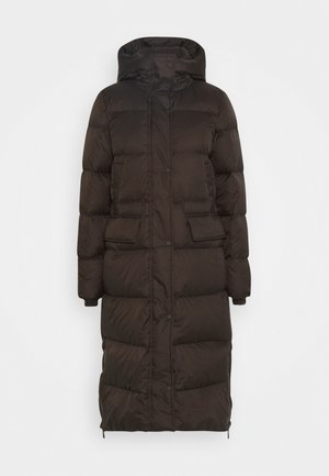 BIG PUFFER COAT FILLED - Płaszcz puchowy - dark chocolate