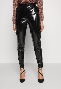 NA-KD - PATENT PANTS - Trousers - black - 0