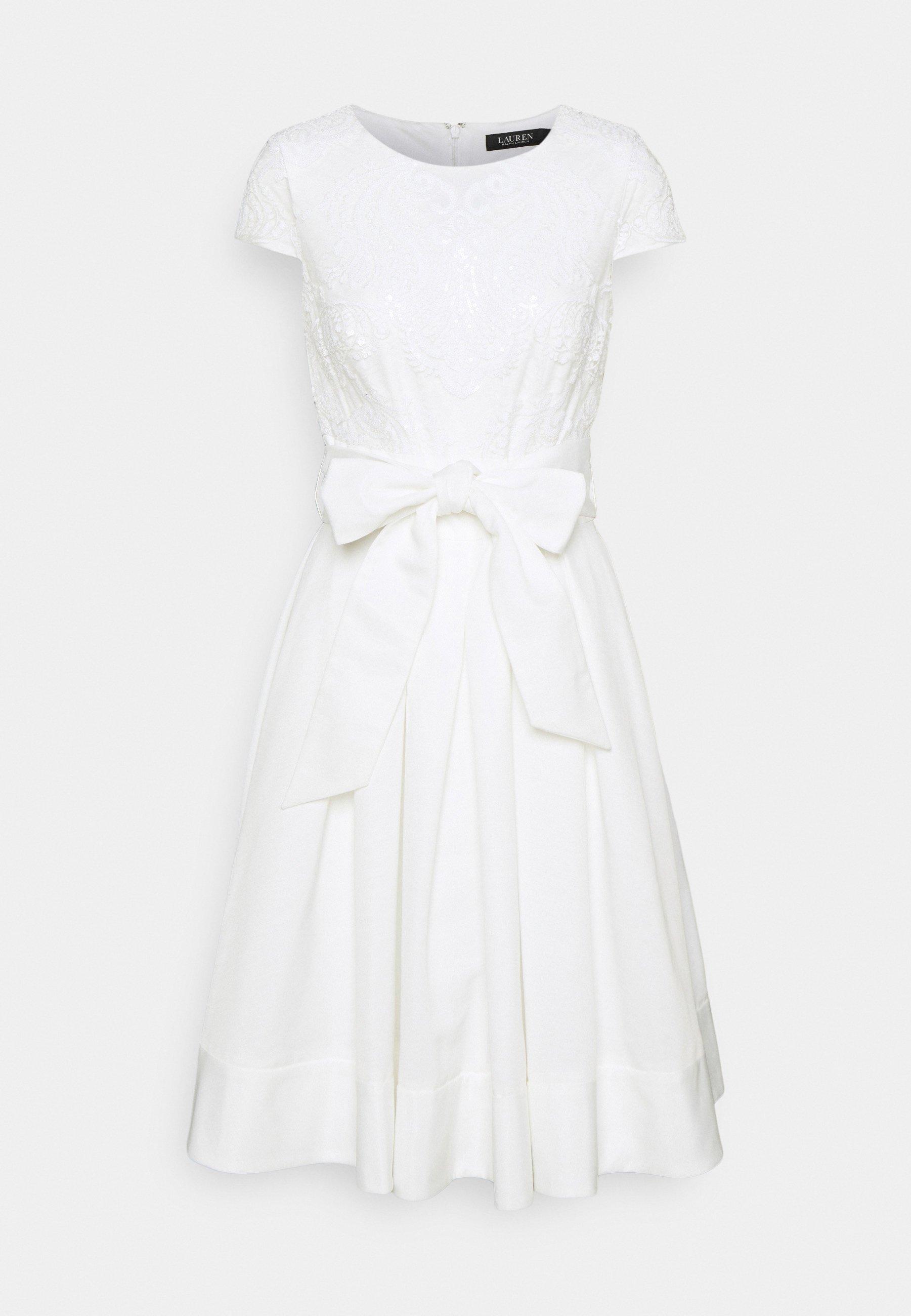 Lauren Ralph Lauren Ziarah Cap Sleeve Dress Cocktailkleid Festliches Kleid Lauren White Weiss Zalando De