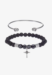Topman - CROSS AND SKULL BRACELET SET - Bracelet - silver-coloured/black - 3