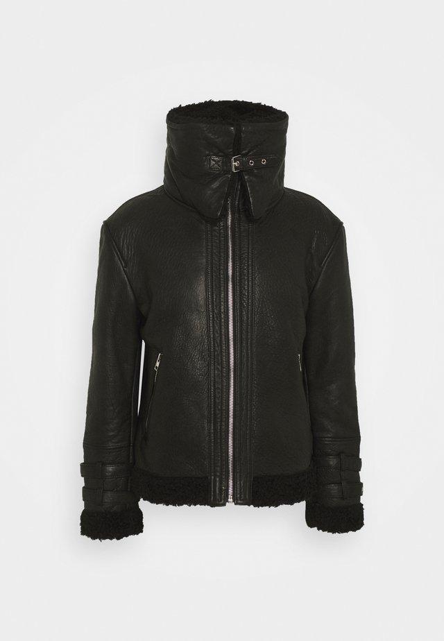 MIO - Veste en cuir - black
