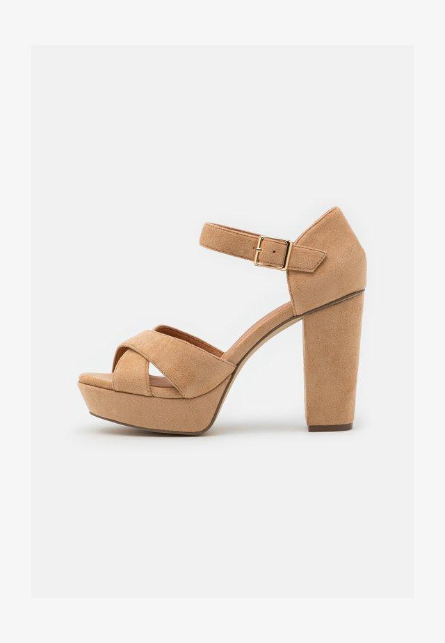 BIACARLY PLATEAU - High heeled sandals - camel