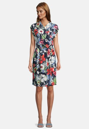 MIT BLUMENPRINT - Jersey dress - dark blue/red