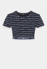 Emporio Armani - CROP - Pyjama top - blu allover bianco - 0