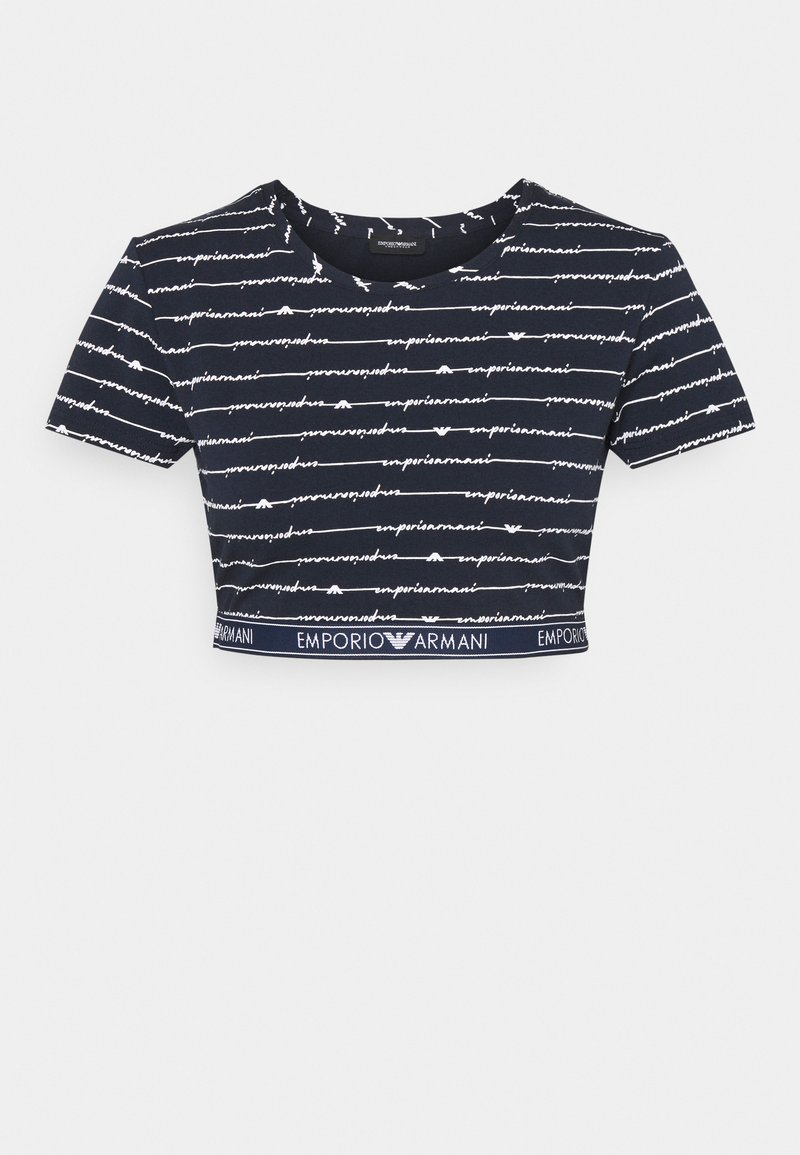 Emporio Armani - CROP - Pyjama top - blu allover bianco