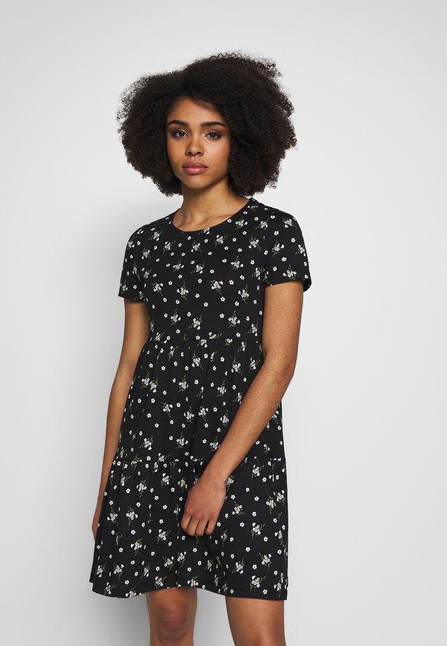 DITSY SMOCK DRESS - Jersey dress - black