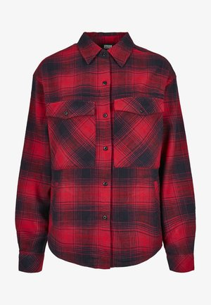 Button-down blouse - darkblue/red