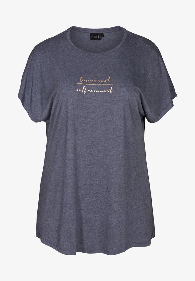 MIT TEXTPRINT - T-shirt imprimé - blue