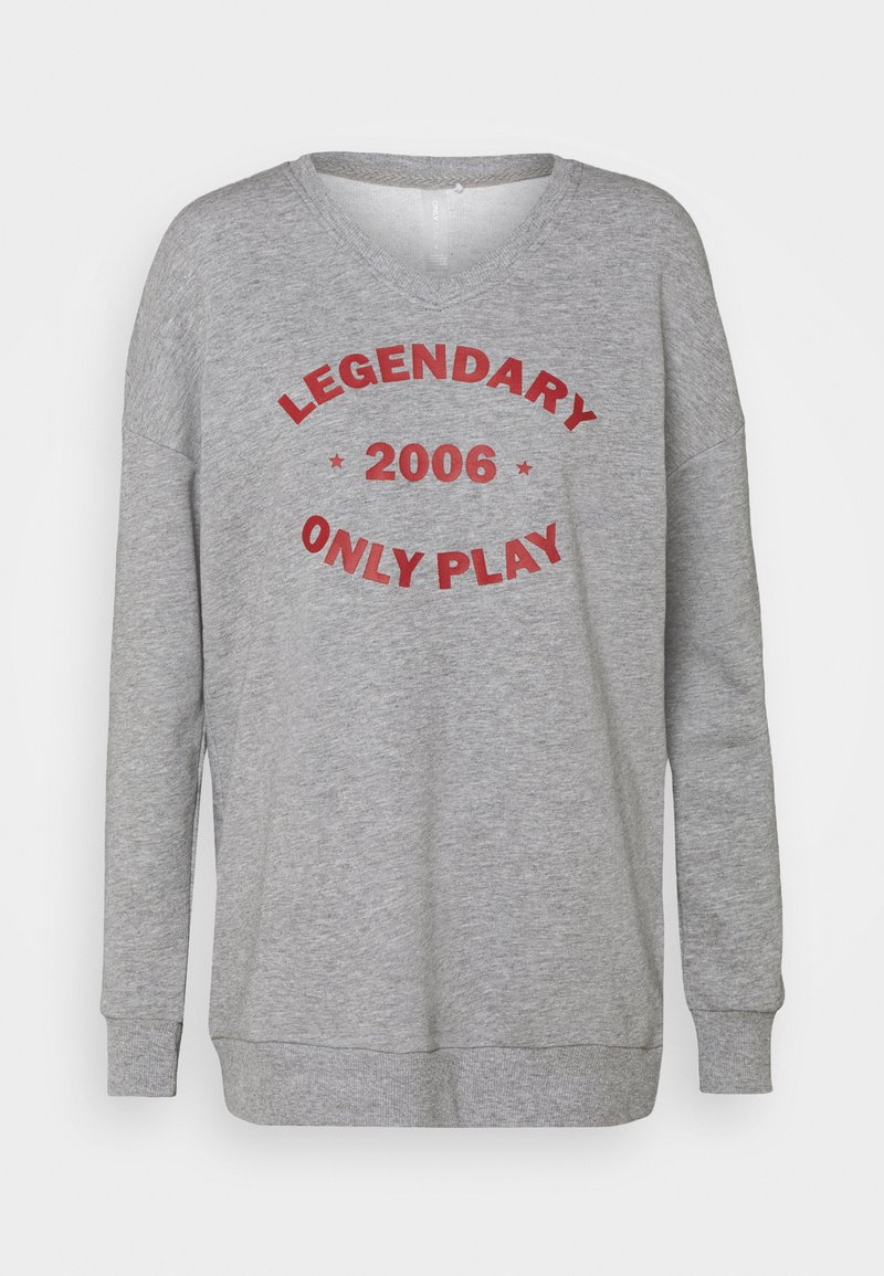 ONLY Play - ONPJARA LONG  - Sweatshirt - medium grey melange/ red orchre