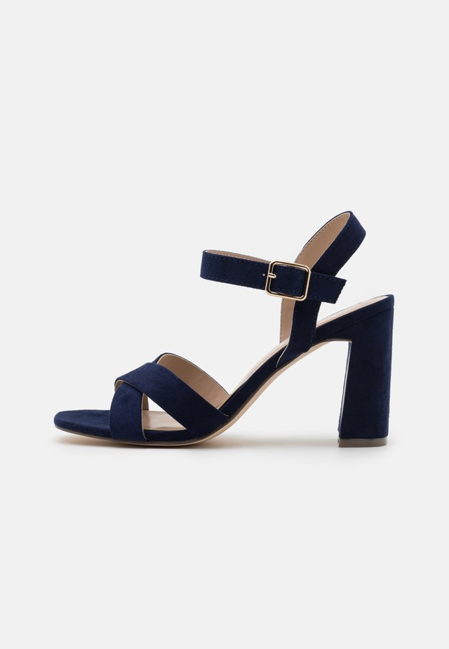 WIDE FIT SELENA BLOCK  - High heeled sandals - navy