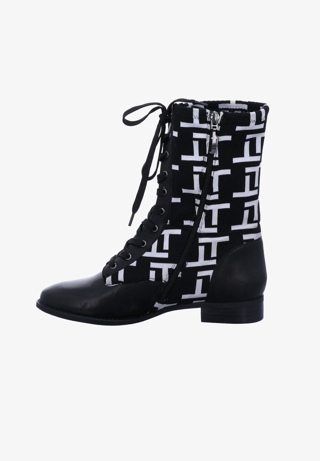 Lace-up boots - schwarz-weiss
