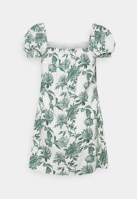 Abercrombie & Fitch - TRAPEZE SHORT DRESS - Day dress - white/green - 1
