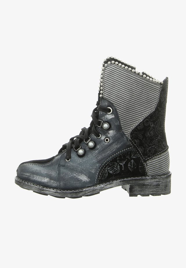 Lace-up ankle boots - czarny