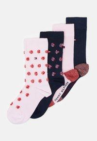 Tommy Hilfiger - KIDS SOCK GIRLS FUZZY DOT 4 PACK - Ponožky - pink/dark blue - 0