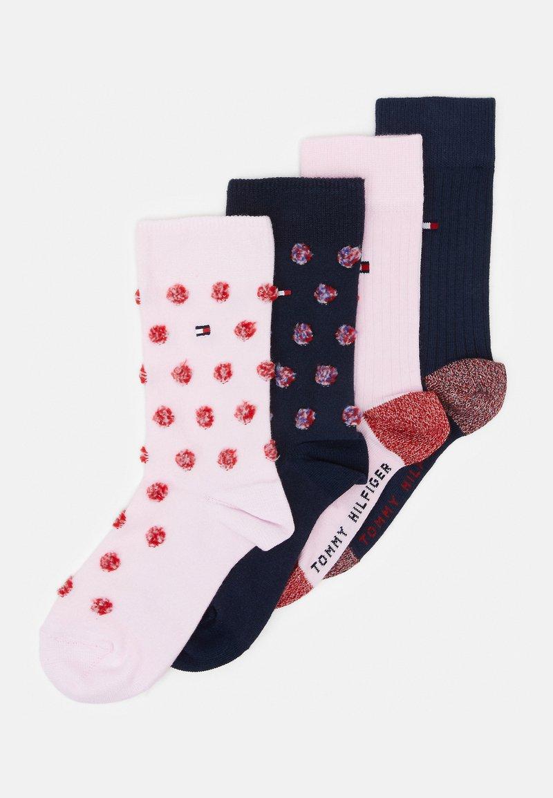 Tommy Hilfiger - KIDS SOCK GIRLS FUZZY DOT 4 PACK - Ponožky - pink/dark blue
