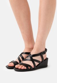 ECCO - SHAPE - Wedge sandals - black santiago - 0