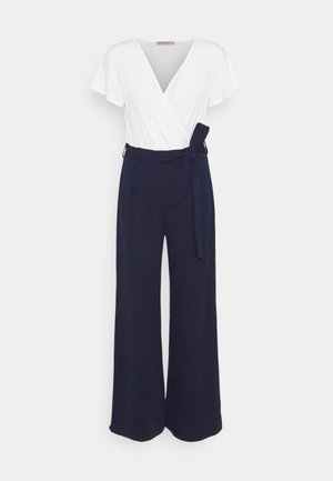 sleeves belted 2-1 jumpsuit - Jumpsuit - white dark blue