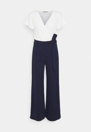 sleeves belted 2-1 jumpsuit - Mono - white dark blue