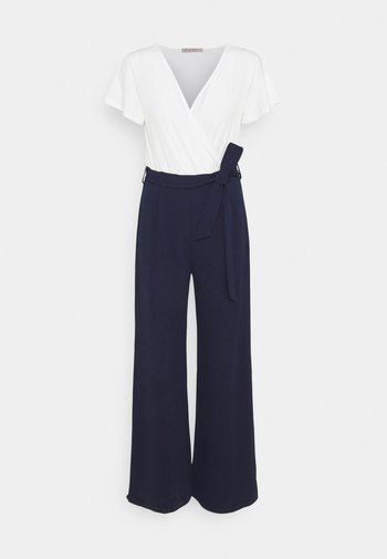 sleeves belted 2-1 jumpsuit - Overall / Jumpsuit - white dark blue