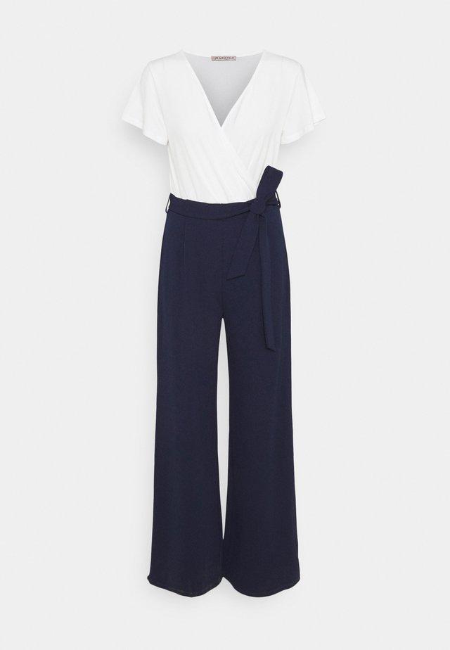 sleeves belted 2-1 jumpsuit - Jumpsuit - white dark blue