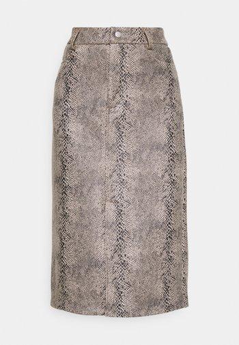 VMGAIA CALF FAUX SUEDE SKIRT - A-line skirt - black snake
