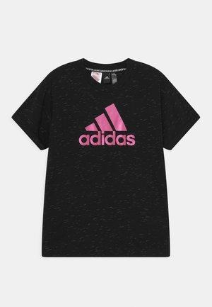 TEE - T-shirt print - black melange/team real magenta