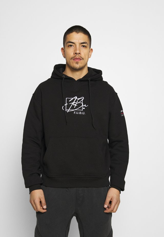 SCRIPT HOODED - Collegepaita - black