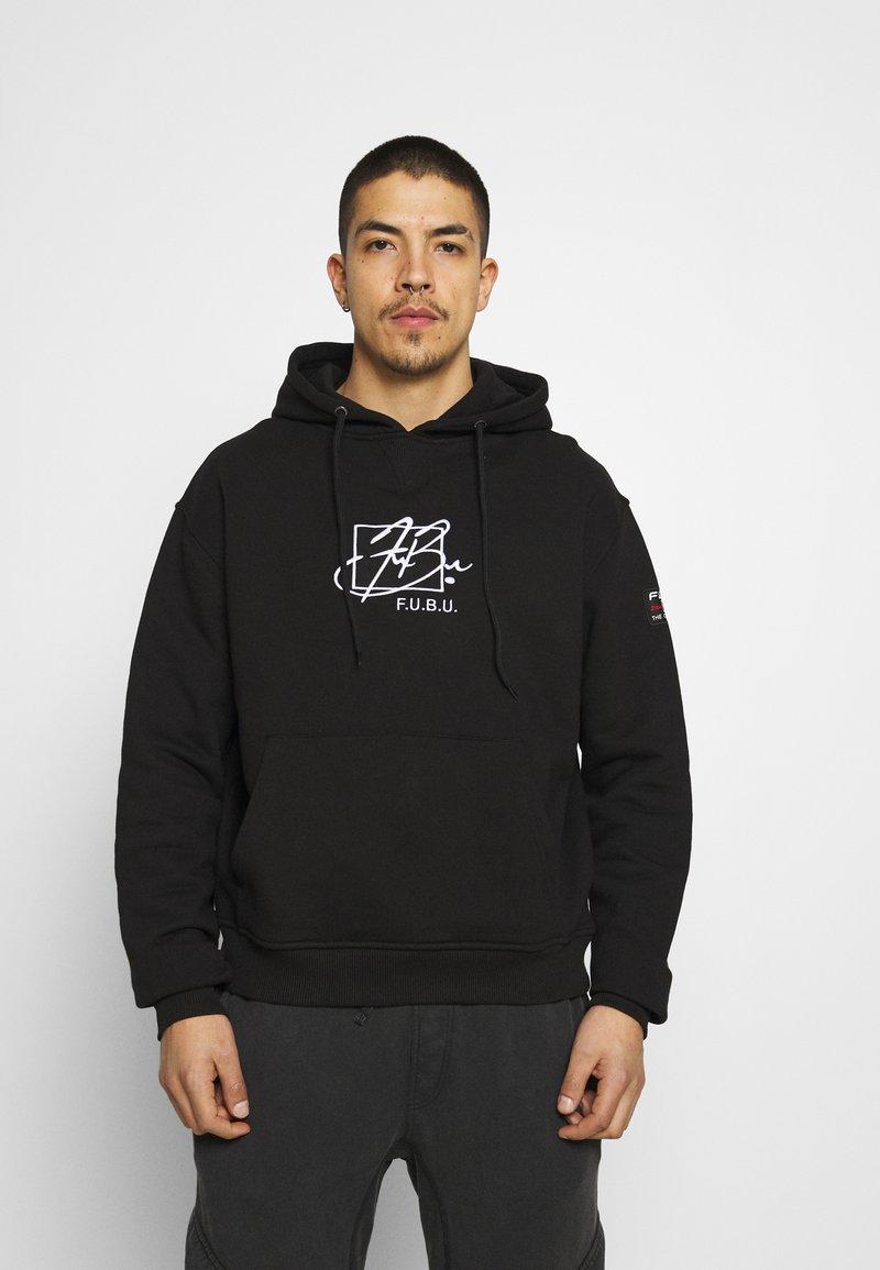 FUBU - SCRIPT HOODED - Sweatshirt - black