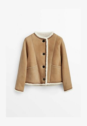 REVERSIBLE DOUBLE-FACED - Leather jacket - beige