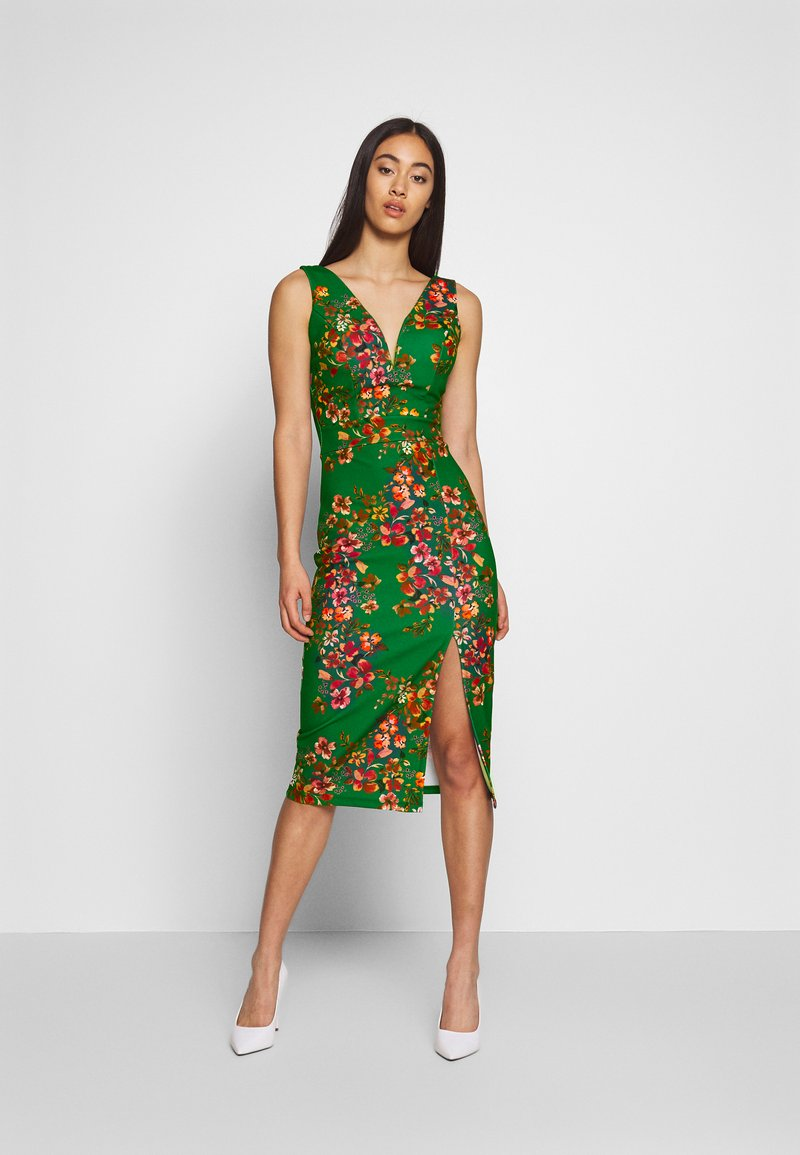 WAL G. - V NECK MIDI DRESS WITH CUPS - Cocktail dress / Party dress - green