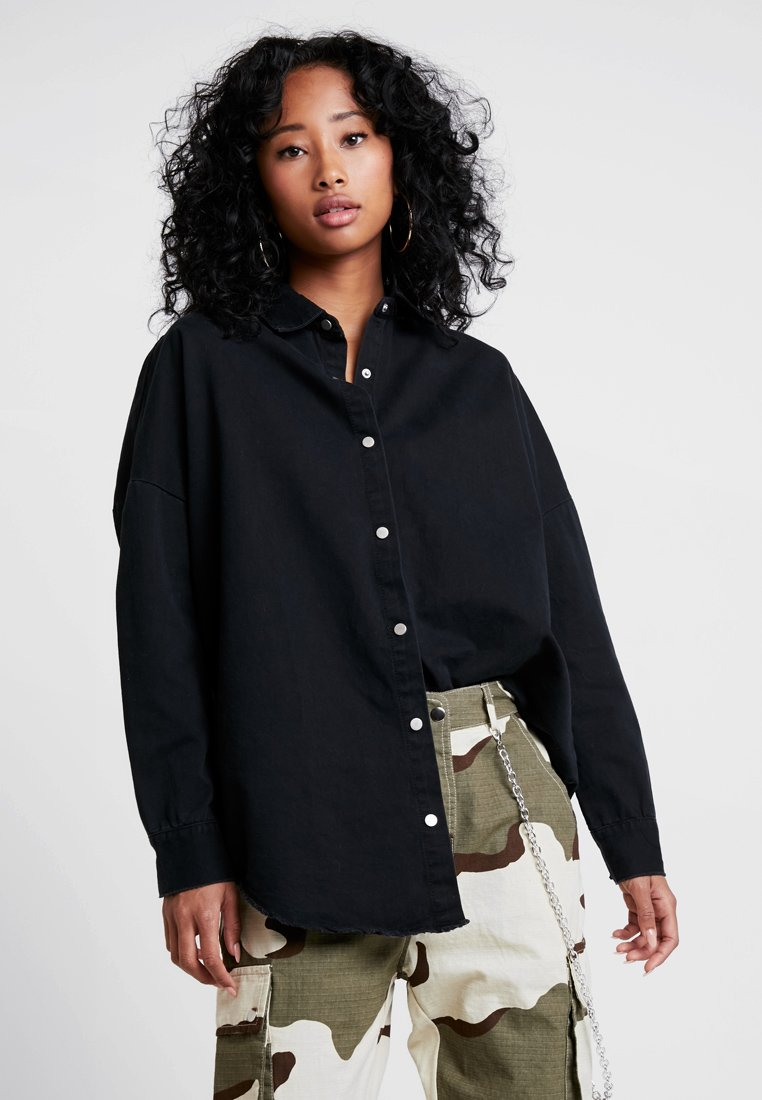 Missguided - OVERSIZED DENIM SHIRT - Overhemdblouse - black