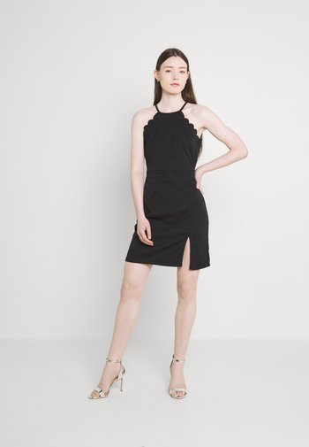 YELDA SCALLOP NECK DRESS - Cocktailjurk - black