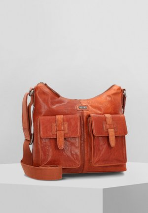 UMHÄNGETASCHE LEDER 28 CM - Across body bag - brandy