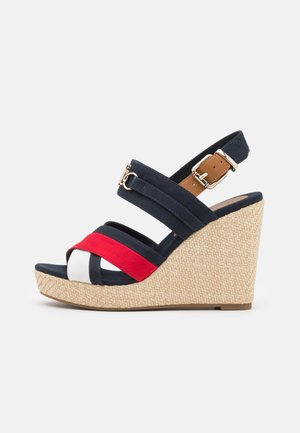 ESSENTIAL HARDWARE HIGH WEDGE - Platform sandals - dark blue