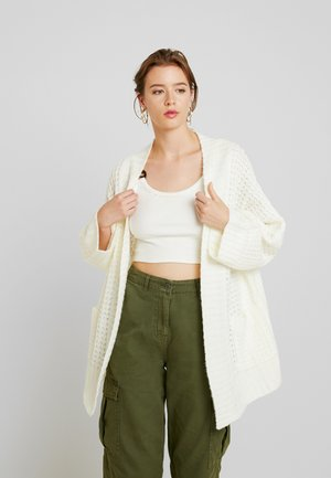 WAFFLE STITCH POCKET CARDIGAN - Vest - off white