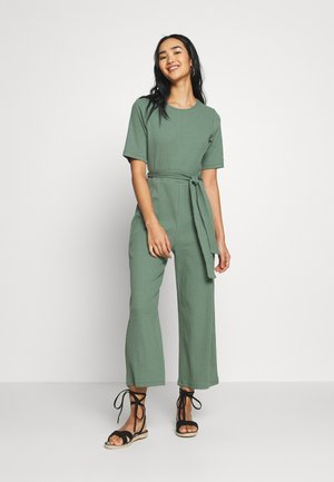 BASIC - Ribbed short sleeves belted jumpsuit - Jumpsuit - khaki