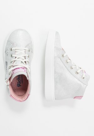 High-top trainers - silver/candy
